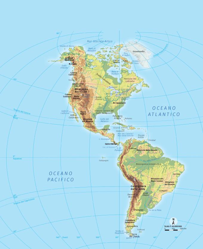 America Fisica Cartina.Americhe Carta Fisica